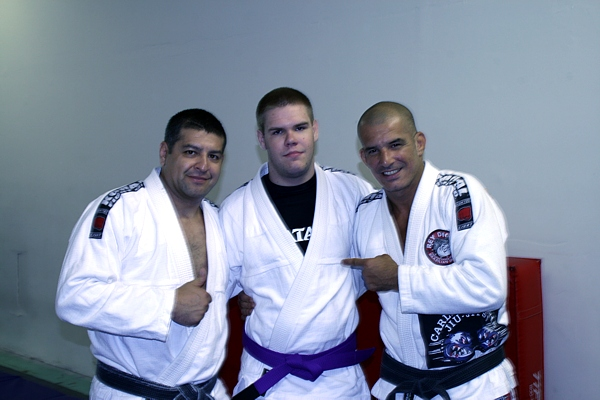 1st Degree Black Belt Martin Escobar - left, Purple Belt Nick Richardson - center, Fourth Degree Black Belt Rey Diogo